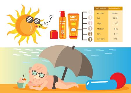 old man lying sun. Vector illustration