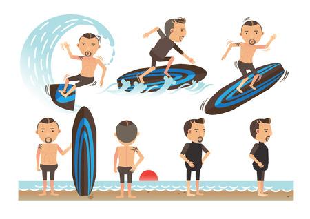 Surfer On Blue Ocean Wave. vector illustration  イラスト・ベクター素材