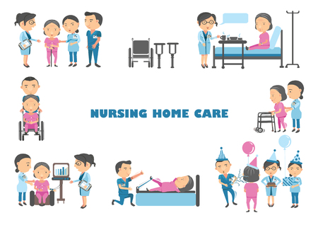 Staff are caring for an elderly woman in a nursing home vector illustration. Stock Illustratie