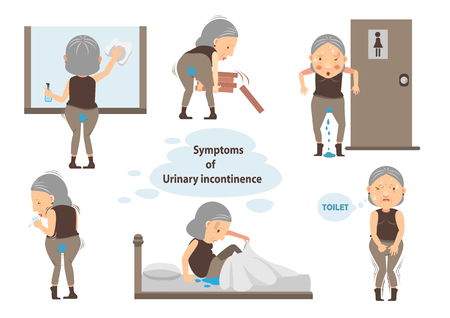 Diseases of Urine discharge old woman Infographic.vector illustration