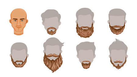 Beard set of stylish beard and brown mustache collection.Variety and Creatively. Simple to apply to your work.Vector illustration, Body parts or Puppet head Charming Isolated on white background. Illustration