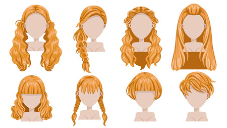 Blonde hair of woman  modern fashion for assortment. long hair, short hair, curly hair trendy haircut icon set. Easy to modify for print, web, interactive, mobile. isolated on white background.
