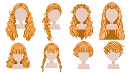 여자의 금발 머리 구색에 대 한 현대 패션입니다. 긴 머리, 짧은 머리, 곱슬 머리 유행 이발사 아이콘 집합. 인쇄, 웹, 대화 형, 모바일 용으로 손쉽게 수정할 수 있습니다. 흰색 배경에 고립. 스톡 콘텐츠 - 93444997