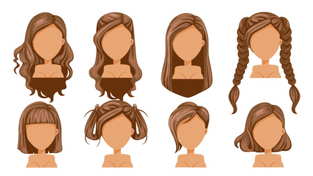 Beautiful  hairstyle Brown Hair woman  modern fashion for assortment. long hair, short hair, curly hair salon hairstyles and trendy haircut vector icon set isolated on white background.