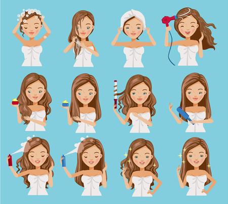 Ładna nastolatka myje włosy, odżywia, pielęgnuje i kształtuje jej włosy. Kreskówka zestaw zabiegu na włosy. Ilustracje wektorowe na białym tle na niebieskim tle.