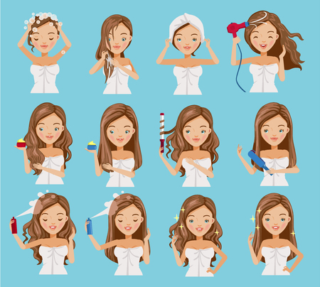 cute teenage girl is washing her hair, nourishing, caring and shaping her hair.Cartoon set of hair treatment procedure.Vector illustrations isolated on a blue background. Vectores