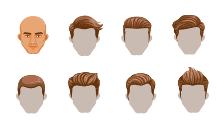 Set of men cartoon hairstyles. Collection of fashionable stylish types.Vector illustration isolated on white background.