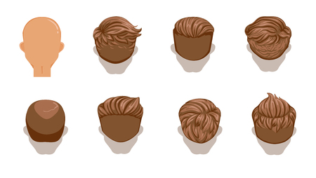 Set of men cartoon hairstyles. Brown Hair. Rear view. Collection of fashionable stylish types. Detailed and unique. Vector illustration isolated on white background. Vettoriali