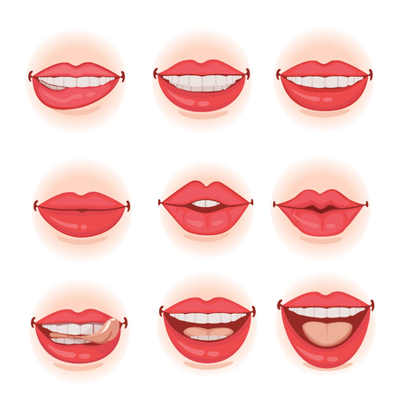 Different female Red lips set .Vector illustration isolated on white background