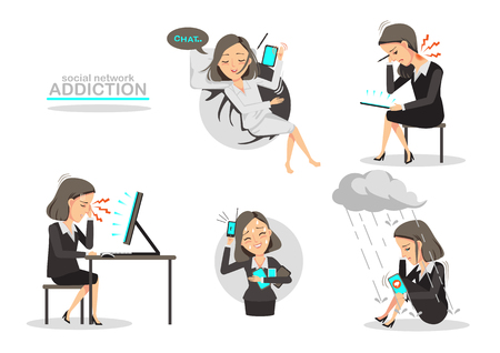 Addicted to social network, Business woman sick with five common diseases.Isolated on white background.Vector cartoon illustrations.