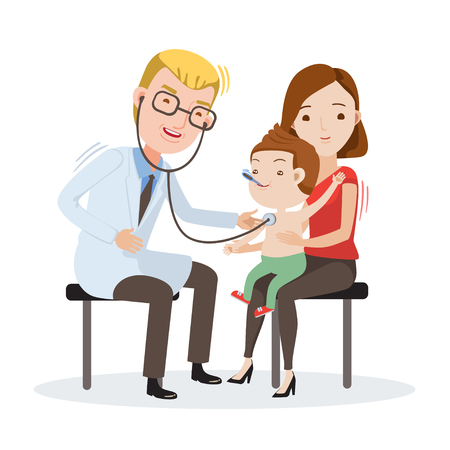 Doctor Examining listens to breathing statoscope Measure body temperature.kid who sits in on her mother's lap. Vector illustration Isolated on white background. Vettoriali