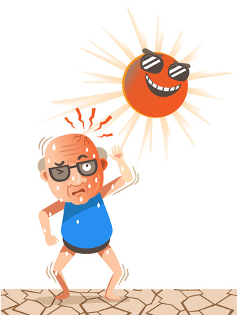 old man stood under the sun on a very hot day.He raised his arms to cover the sun.Vector illustrations