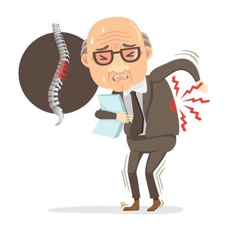 elderly businessman in a suit. He has pain in his back. stands sore.And diagram showing spine Injured.Cartoon character concept of hard work is bad for health.Vector illustrations isolated