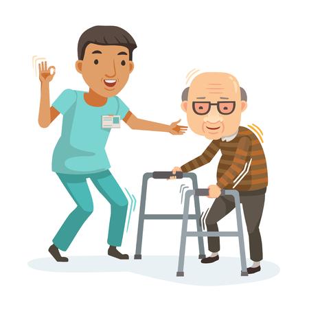 Pielęgniarka pomaga babci podejść do chodzika. Opieka nad osobami starszymi. Ilustracja wektorowa w stylu płaski