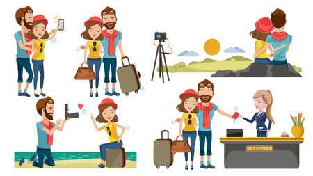 Couple travel relaxing on top of a hill. Traveling along mountains and coast, Take pictures together. Check in lobby hotel. The honeymoon concept with sweetness. Traveling to various places. Vectores