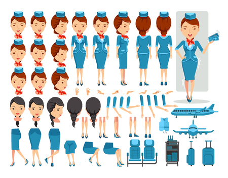 Air hostess character creation set.Icons with different types of faces and hair style, emotions,front,rear,side view of female person.Moving arms,legs.Vector illustration Isolated on white background
