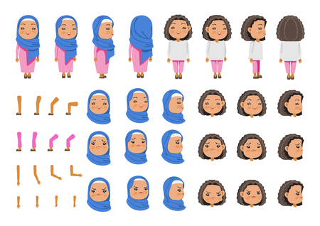 Arabic Little Girl character creation set. Icons with different types of faces Hijab and hair style, emotions,  front, rear, side view of female person. Moving arms, legs. Vector illustration