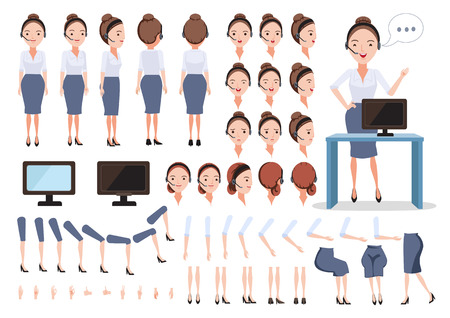 Female call center character creation set.Icons with different types of faces and hair style, emotions, front, rear, side view of female person. Moving arms, legs.Sit, stand, walk.Vector illustration
