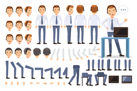 customer service man Character creation set.Icons with different types of faces and hair style, emotions, front,rear,side view of male person. Moving arms, legs.Sit, stand, walk.Vector illustration