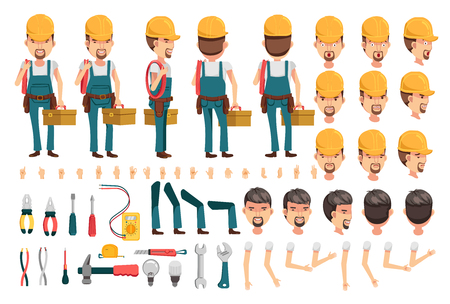Electrician cartoon character creation set.Icons with different types of faces and hair style, emotions,icon,front, rear, side view of male person.Moving arms, legs.Vector Isolated on white background