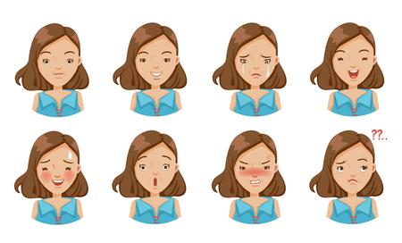 Ensemble d'émotions de la femme. Expression faciale. Illustration vectorielle isolée sur fond blanc Vecteurs