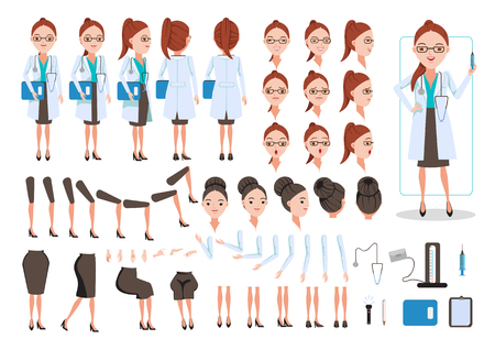 Female Doctor  character creation set. Icons with different types of faces and hair style, emotions,  front, rear, side view of female person. Moving arms, legs.Sit, stand, walk  Vector illustration