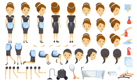 Housekeeping cartoon creation set.animated character. Icons with different types of faces and hair style, emotions, front, rear, side view of female person.Moving arms, legs. Easy to modify for works. Stock Illustratie