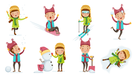 Cute kids in warm clothes set.