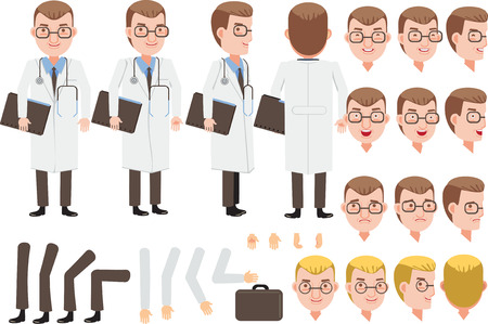 Male Doctor character creation set. Icons with different types of faces and hair style, emotions,  front, rear, side view of male person. Moving arms, legs. Vector illustration 向量圖像