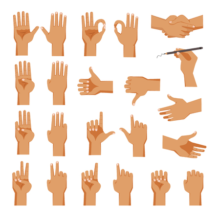 Set of hands Men's in different gestures emotions  palm,hand back, view and signs One to ten on white background isolated vector illustration Illustration