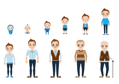 Aging of male  characters,cycle of life from childhood to old age.Vector, illustrations