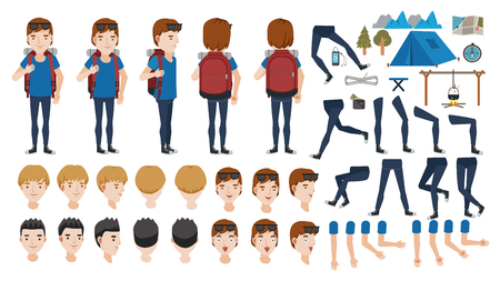 Man backpack travel adolescence creation set. animated character. Icons with different types of faces, hair style, emotions, front, rear, side view of male person. Moving arms, legs. Vector Isolated