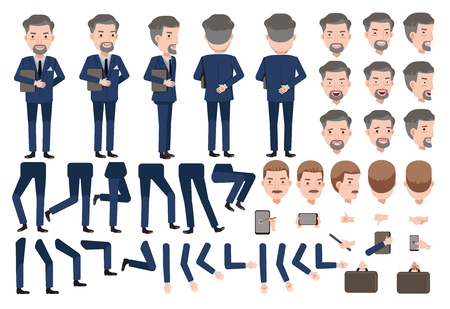 hotel manager creation set. animated character. Icons with different types faces and hair style, emotions, front, rear, side view of male person. Moving arms, legs.Vector Isolated on White background