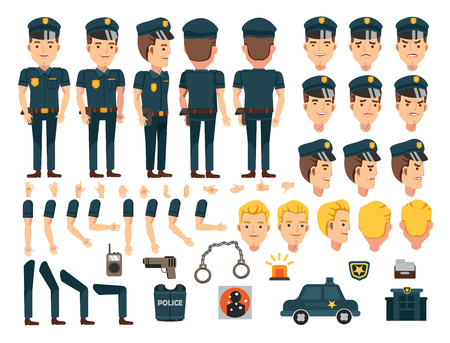 Police character creation set. Icons with different types of faces and hair style, emotions,icon  front, rear, side view of male person. Moving arms, legs. Vector illustration