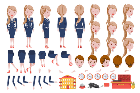 Receptionist cartoon character creation set.Icons with different types of faces and hair style, emotions,icon,front, rear, side view of female person.Moving arms, legs.Vector Isolated on background hotel guest, hotel desk, checking into hotel, hotel receptionist