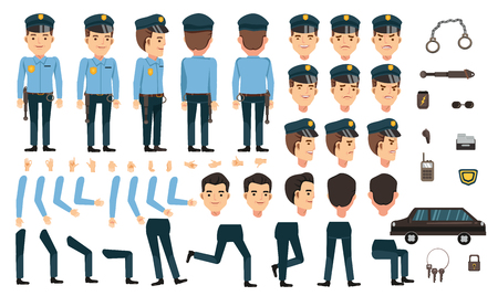 Security guard creation set with different types of faces and hair style, emotions, front, rear, side view of male person. Moving arms, legs. Vector Isolated on background