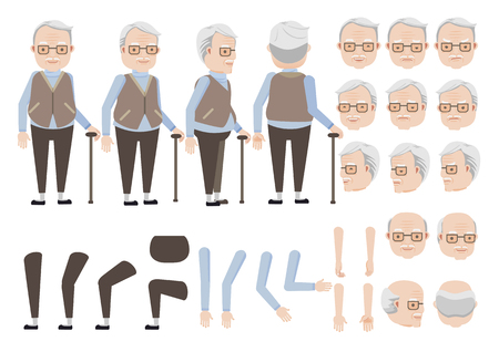 Old man relies on cane character creation set. Icons with different types of faces and hair style, emotions, front, rear, side view of male person. Moving arms, legs. Vector illustration Vetores