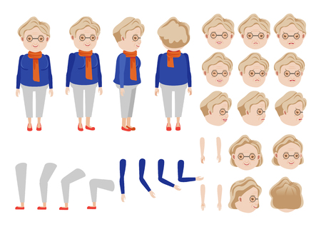 Old Woman character creation set. Icons with different types of faces and hair style, emotions, front, rear, side view of female person. Moving arms, legs. Vector illustration