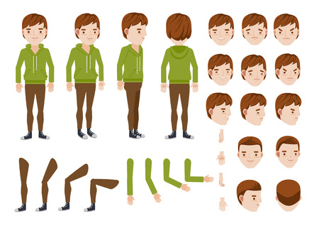 Teenage Boy character creation set. Icons with different types of faces and hair style, emotions,  front, rear, side view of male person. Moving arms, legs. Vector illustration Stock Illustratie