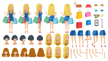 Shoppers Dress adolescence. animated character creation set. Icons with different types of faces, hair style, emotions,icon,front, rear, side view of female Young girl person. Moving arms,legs.vector