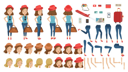 Tourist woman travel creation set, animated character. at airport. Icons with different types of faces and hair style, emotions, front, rear, side view of female person. Moving arms, legs isolated on white background. Illustration