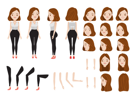 Woman character creation set. Icons with different types of faces and hair style, emotions, front, rear, side view of female person. Moving arms, legs vector illustration.