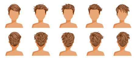 Conjunto de hombre de cabello soplado. Visión amplia El cabello está volado. Delantero, trasero, izquierdo, derecho. guapo peinado cabello corto castaño de hombre. corte de pelo de moda. Conjunto de iconos de vector aislado sobre fondo blanco. Ilustración de vector