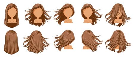 Conjunto de mujeres de cabello soplado. Visión amplia El cabello está volado. Delantero, trasero, izquierdo, derecho. Hermoso peinado cabello largo castaño de mujer. corte de pelo de moda. Conjunto de iconos de vector aislado sobre fondo blanco.