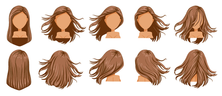 Hair blown women set. Wide view The hair is blown away. Front, rear, left, right. Beautiful hairstyle brown long hair of female.  trendy haircut. vector icon set isolated on white background. Vettoriali