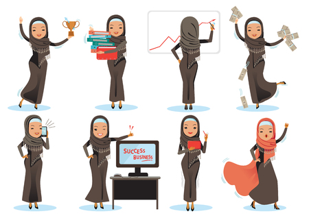 business arab woman character Set. woman office worker in various situations. Vector illustration