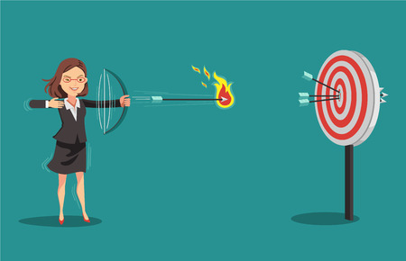 Businesswomen aiming with bows and arrows. Arrow hitting target.Successful business concept.Isolated on blue background