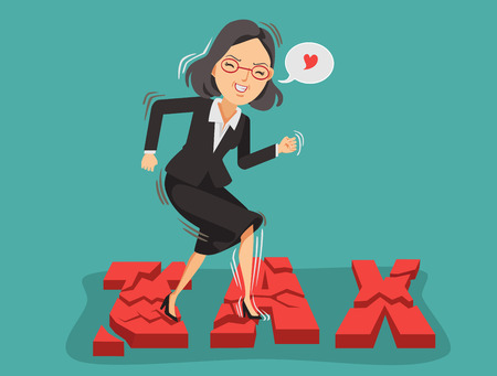 Happy business woman stepped on the broken tax font. Tax rate reduction ideas. Vector illustration isolated on blue background Ilustracja