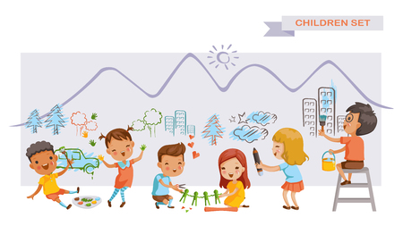 Children art group. Cute kids painting and drawings on the wall. Children's Growing Learning Concept. Stock Illustratie