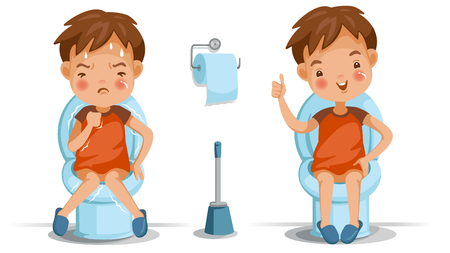 Boy is sitting on the toilet, conversely, emotions and gestures. Constipation, normal digestive system, bad, excellent. Childrens health concept vector illustrations isolated on white background. Stock Illustratie